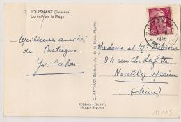 FOUESNANT Finistère Sur 3F Gandon. 1948. - Cachets Manuels