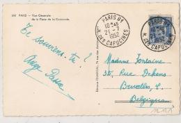 PARIS 81 R. DES CAPUCINES Pour La Belgique Sur 15f Gandon. - Postmark Collection (Covers)