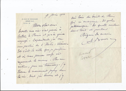 ARMAND BOUR (LILLE 1868 PARIS 1945) COMEDIEN FRANCAIS FORME AU THEATRE LIBRE D'ANDRE ANTOINE LETTRE A SIGNATURE 1914 - Autographes