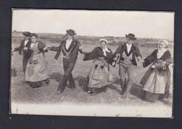 Carte Photo  Originale Types Bretons Gavotte Bretonne Danse Folklore Breton Costume - Bretagne