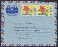 AZ215      MALAYSIA Aerogramme SURAT UDARA  Penang To Wien 2x15c Hibiscus - Malesia (1964-...)