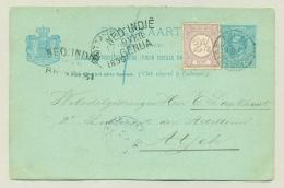 Nederland / Nederlands Indië - 1890 -Ned:Indië /over/Genua En Over/Brindisi Op Briefkaart Met Bijfr. Naar Atjeh