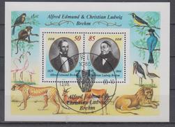 DDR 1989 ALFRED EDMUND CHRISTIAN LUDWIG BREHM ZOO MONKEY FLAMINGO TIGER LION ANTELOPE BIRD USED S/SHEET