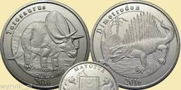 MAYOTTE 2016 Set Of 2 Coins Dimetrodon Torosaurus Dinosaur UNC - Munten