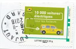 """MonTimbraMoi """"La Poste - 10 000 Voitures électriques Pour Les Facteurs"""" - Oblitéré Cachet Rond"""