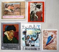 Lot 5x Timbre Timbres Obliterés Asie  - Ajman - Yemen - Sharjah - Umm Al Qiwain - Ras Al Khaima - Timbres