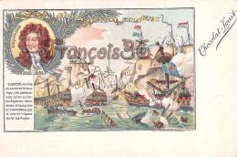 Duquesne Combat D'Agosta En Sicile 1676 Illustration Chocolat Louit Marine Voilier Capitaine Flotte - Hombres Políticos Y Militares