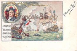 Tourville Bataille De Bevezieres 1690 Illustration Chocolat Louit Marine Flotte  - 2 SCANS - Hombres Políticos Y Militares