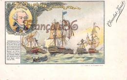 D'Estaing Combat De La Grenade 1779 Illustration Chocolat Louit Marine Flotte Mer Capitaine  - 2 SCANS - Hombres Políticos Y Militares