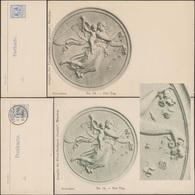 München 1898. Privatpost Courier, Ganzsache. N° 56. Le Jour, Sculpture De Thorvaldsen. Ange, Femme, Roses Ou églantiers