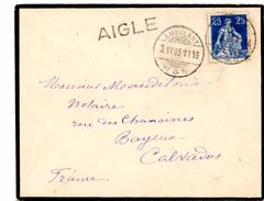 Lettre De Ambulant N°8 (03.06.1909) Pour Bayeux Via AIGLE