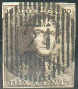 N°1 - Epaulette 10 Centimes Brune, 3 Marges (pas D'autre Défaut), Obl. D.21 HAVELANGE Parfaitement Apposée. - 11656 - 1849 Epaulettes