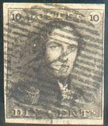 N°1 - Epaulette 10 Centimes Brune, TB Margée Avec Obl. P.24 BRUXELLES Idéalement Apposée. - 11658 - 1849 Epaulettes