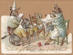 Victorian Greeting Card Diecut  Donkeys Having A Story Read Egc64 - Old Paper