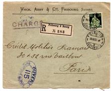 Lettre Recommandée Chargée De Fribourg Succursale (18.08.1917) Pour Paris_censure 115