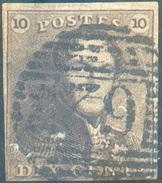N°1 - Epaulette 10 Centimes Brune, Bien Margée, Obl. P.62 HUY  - 11660 - 1849 Epaulettes