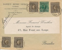179 + 4x 181 Sur Devant - Mouscron 12 X 1920 Vers Bruxelles - Série VIIéme Olympiades Anvers - Affranchis-sement 65c - Belgium