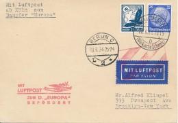 """Steamer """"Europa"""" Buckow 20.6.34 Via Berlin 28.6.34 Et Cöln Catapult Vers New York - Tarif Carte15Pf + Aérien 30Pf Exact - Airmail"""