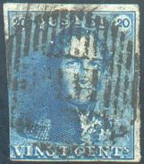 N°2 - Epaulette 20 Centimes Bleue, Un Peu Court à Gauche Sinon Margée, Obl. Ambulant (spoorwegstempel) M.VI    - 11663 - 1849 Epaulettes