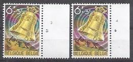 BELGIQUE - Cob - 2 X 1242** Avec N° De Planche 3 Et 4 - Cote 1,80 € - Bourdon De La Paix De La Basilique De Koekelb