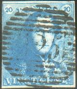 N°2 - Epaulette 20 Centimes Bleue, Bien Margée Et Obl. P.125 VILVORDE Idéalement Apposée. - 11669 - 1849 Epaulettes
