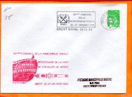 FINISTERE, Brest, Flamme N° 17120, XIVeme Congrès De La Marcophilie Navale, 1er Jour - Storia Postale