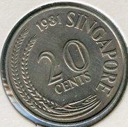 Singapour Singapore 20 Cents 1981 KM 4 - Singapour