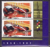 1997 Gilles Villeneuve Formula 1 Race Car Driver Sc 1648 X 2 MNH **