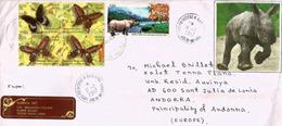 Great Indian Rhinoceros,Kaziranga National Park (Assam) INDIA, Belle Lettre Adressée ANDORRA Avec Timbre à Date Arrivée