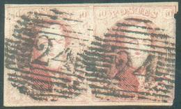 N°12(2) - Médaillon 40 Centimes Vermillon En Paire, 1 Ex. TB Margé, Obl. P.24 BRUXELLES  - 11680