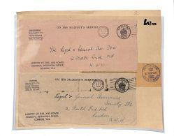 BA200 1945-46 GB London Paddington OHMS Official X2 Petroleum Dep [ADD PRICE] - Cartas