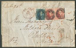 N°4-5(2) - Médaillons 20 Centimes Bleus Et  40 Centimes Carmin-rose, Tous Margés, Obl. P.23 Sur Lettre De BRUGES  Le 26 - 1849-1850 Médaillons (3/5)