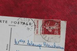 1938        GUERLESQUIN  SEMEUSE  DE  CARNET  SUR  CARTE  POSTALE - 1906-38 Semeuse Con Cameo
