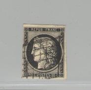 FRANCE -  Cérès N°Y&T 3 Oblit. Grille - 20 C Noir Sur Jaune - Signé Calves TTB - 1849-1850 Ceres