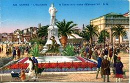 CPA -  CANNES - ESPLANADE ET LA STATUE D'EDOUARD VII - Cannes