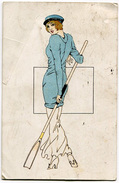 CARTOLINA DONNINA SPORT CRICHET VIAGGIATA ANNO 1921 - Cricket
