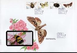 Azoren FDC Heftchenblatt 4 365 - 368 C Insekten Used Gestempelt (groß)
