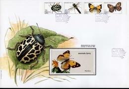 Azoren FDC Heftchenblatt 5 369 - 372 C Insekten Used Gestempelt (groß)