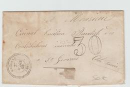 1868 - LETTRE Avec TYPE 22 De MAGLAND (HAUTE SAVOIE) & TAXE TAMPON De 30 - Marcophilie (Lettres)