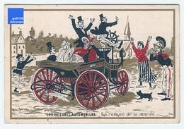 Chromo Dorée Voitures Automobiles Mariée Mariage Village Voiture Ancienne Car Wedding Ephemera Trade Card Vintage A21-6 - Trade Cards
