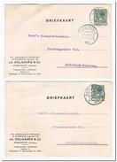 2 Briefkaarten 1931 Van Harlingen Naar Amsterdam ( Oolgaard & Co. Likeurstokerij & Distilleerderij D'Olijfboom )