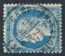 N°60A, Cérès, 25c Bleu, Oblitéré Càd CRÉPY-EN-VALOIS (Oise) - SUPERBE
