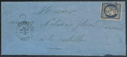 N°4a, Bleu-foncé, Oblitéré TONNAY-CHARENTE 1851 Lettre Pour La Rochelle