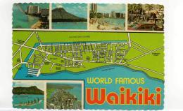 Postcard - Map - World Famous Waikiki - Card No.52268D Very Good - Ohne Zuordnung
