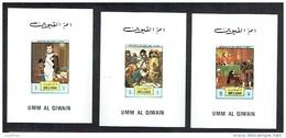 UMM AL QIWAIN 1972, NAPOLEON, TABLEAUX, 6 Blocs LUXE,  NON DENTELES / IMPERFORATED, Neufs / Mint. R410