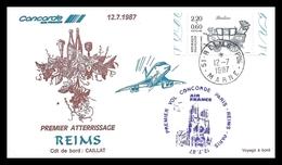 6 53 03 5    073    -    Concorde PREMIER ATTERRISSAGE - REIMS 12/07/1987