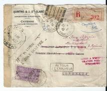 "Lettre Recommandée Guyane/Cayenne-> Bordeaux,Censure,cachets"" Inadmis /Zone Occupée/Relations Interrompues..."""