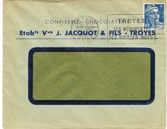 ENVELOPPE  A EN-TETE CONFISERIE CHOCOLATERIE JACQUOT TROYES - 1921-1960: Modern Tijdperk