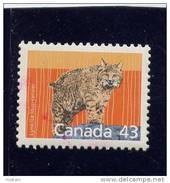 CANADA. 1989, #1170, MAMMAL DEFINITIVES: LYNX  USA RATE   MNH  SINGLE