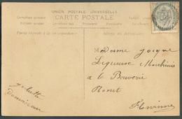 N°53 - 1 Centime Gris, Obl. RURALE à 18 Barres Sur C.V Vers Flawinne - 11693 - Balkenstempel: Bahnpoststempel